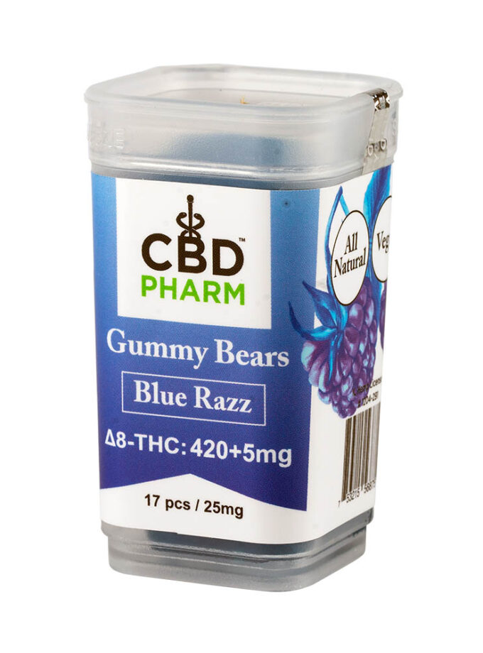 CBD Pharm- Blue Razz Delta 8 Gummy Bears (420+5mg)