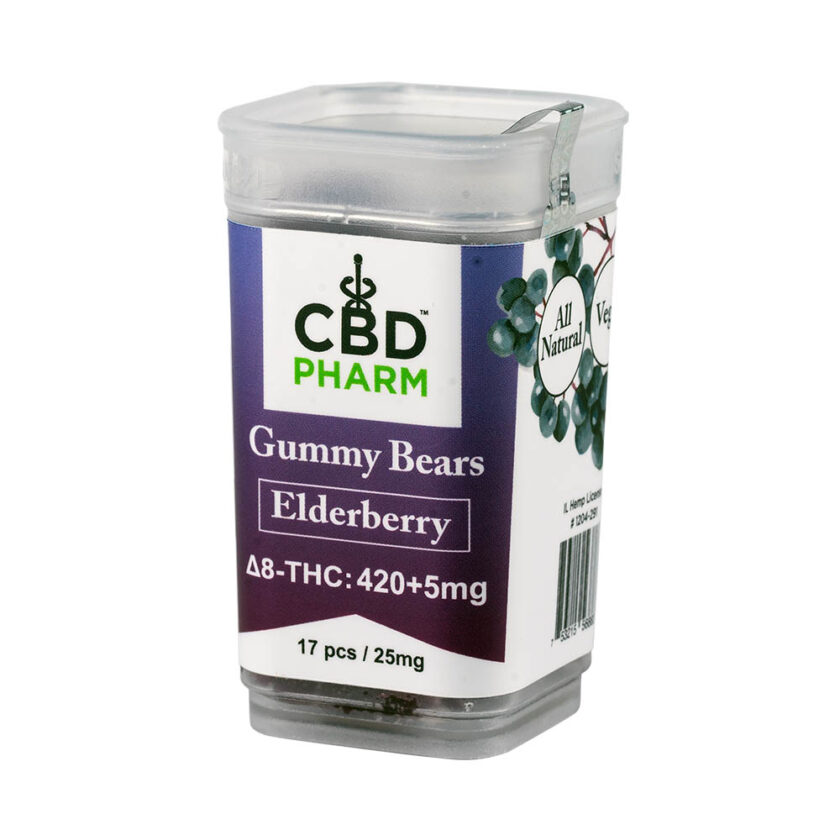 CBD Pharm- Elderberry Delta 8 Gummy Bears (420+5mg)