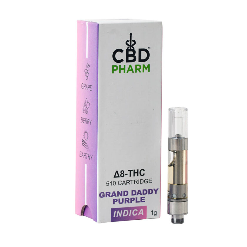 CBD Pharm- Grand Daddy Purple Indica Delta 8 Cartridge