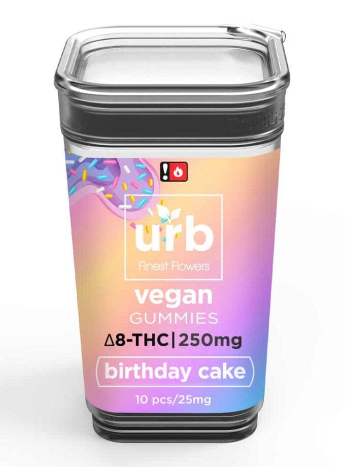 URB Birthday Cake Delta 8 Vegan Gummies - 10 Count, 250mg