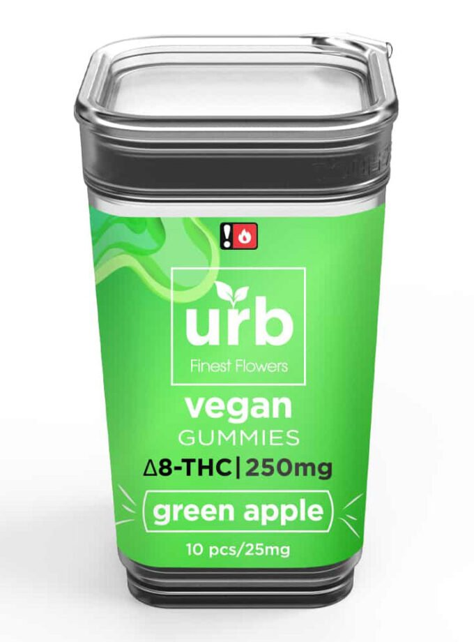 URB Green Apple Delta 8 Vegan Gummies - 10 Count, 250mg